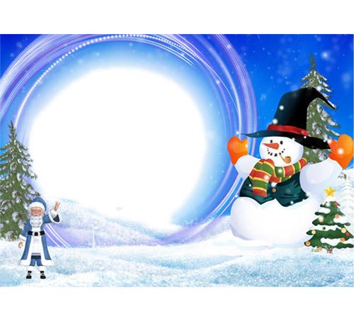 Детские рамки для фотошопа: Гигантский снеговик