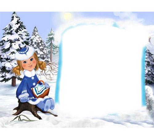 Детские рамки для фотошопа: Зима в лесу