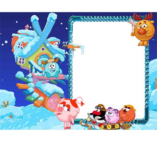 Рамки с героями мультфильмов: Смешарики зимой
