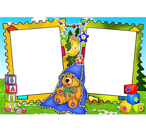 Детские рамки для фотошопа: Мишутка