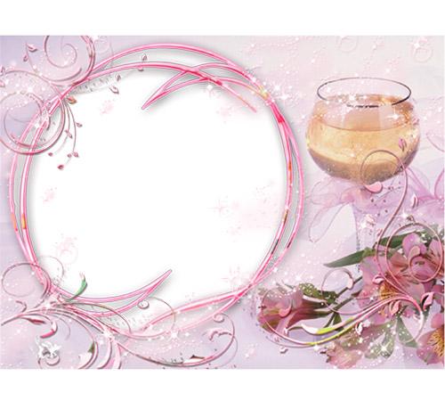 Праздничные рамки для фотошопа: Бокал розового вина