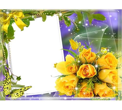 Рамки с цветами для фотошопа: Букет роз