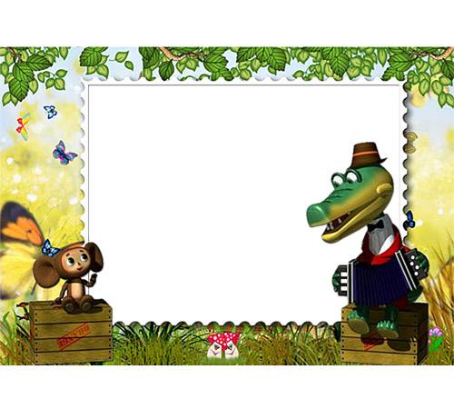 Рамки с героями мультфильмов: Крокодил Гена и Чебурашка