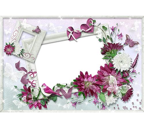 Рамки с цветами для фотошопа: Пионы и соловей