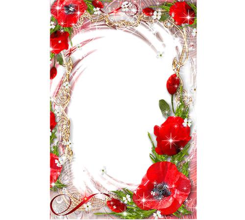 Рамки с цветами для фотошопа: Маковый цвет
