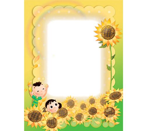 Детские рамки для фотошопа: В подсолнухах
