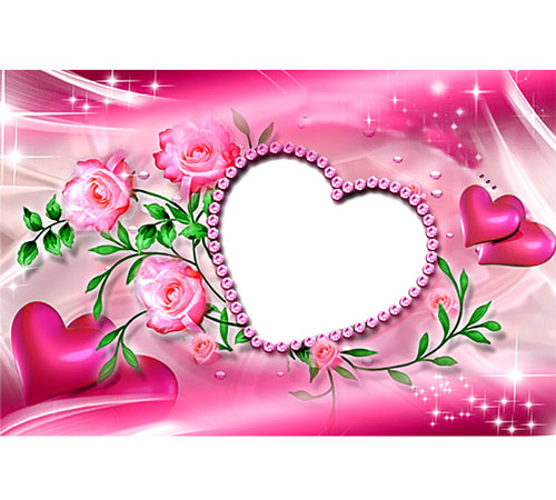 Рамки  - сердечки для фотошопа: Розовое сердце