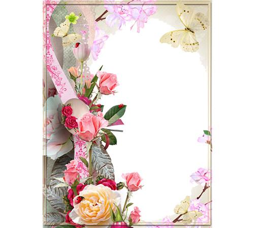 Рамки с цветами для фотошопа: Розы и бабочки