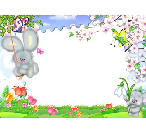 Детские рамки для фотошопа: Весенняя полянка