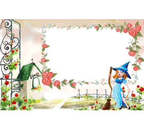 Детские рамки для фотошопа: Домик принцессы