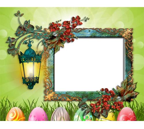 Праздничные рамки для фотошопа: Пасхальная открытка