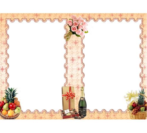 Праздничные рамки для фотошопа: Фрукты и шампанское
