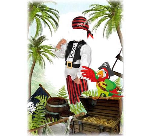 Детские шаблоны для фотошопа: Мальчик пират