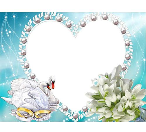 Рамки  - сердечки для фотошопа: Лебединая верность