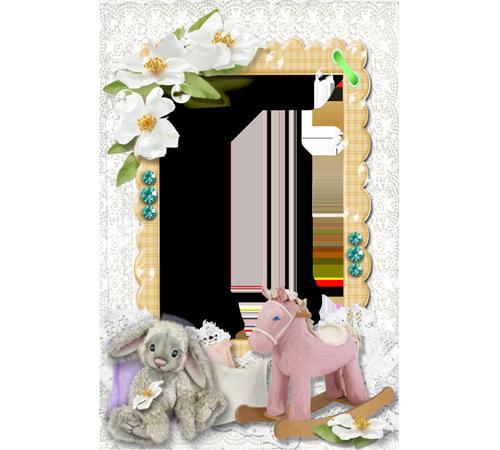 Детские рамки для фотошопа: Зайчик и лошадка