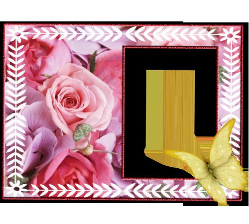 Рамки с цветами для фотошопа: Роза и бабочка