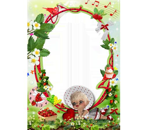 Рамки с цветами для фотошопа: Ягодка - клубничка