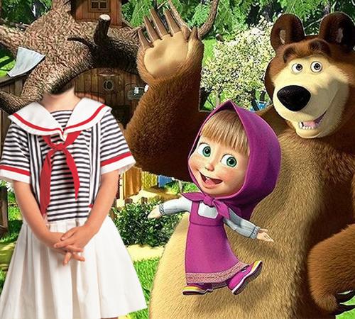 Детские шаблоны для фотошопа: Маша и медведь