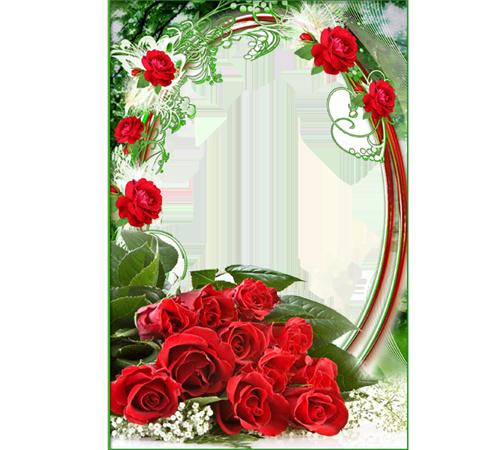 Рамки с цветами для фотошопа: Алые розы