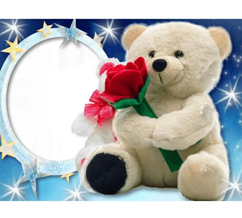 Детские рамки для фотошопа: Мишка с розой