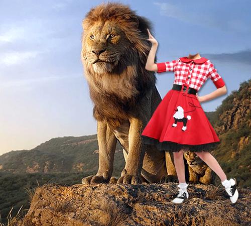 Детские шаблоны для фотошопа: Девочка со львом