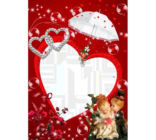Рамки  - сердечки для фотошопа: Куколки и сердечки