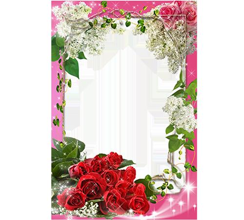 Рамки с цветами для фотошопа: Розы и сирень
