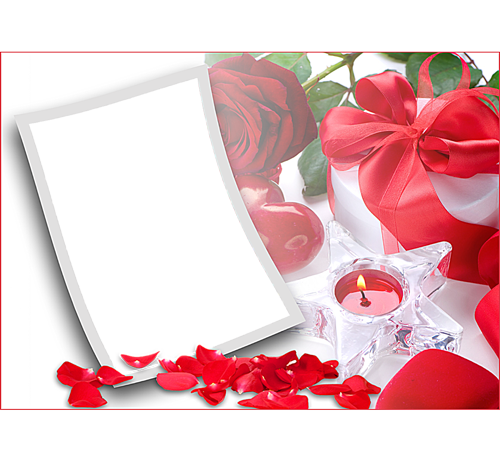 Рамки с цветами для фотошопа: Свеча и роза