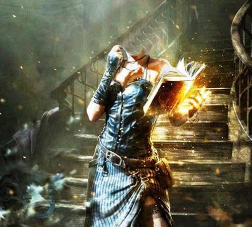 Женские шаблоны для фотошопа: Магия и книга