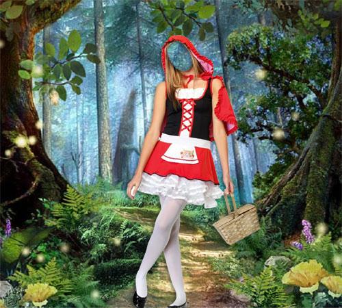 Женские шаблоны для фотошопа: Красная шапочка