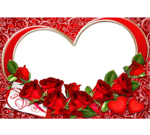 Рамки  - сердечки для фотошопа: Розы и сердце