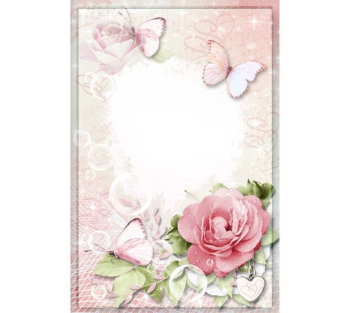 Рамки с цветами для фотошопа: Роза в капельках росы