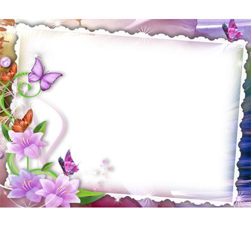 Рамки с цветами для фотошопа: Бабочки порхают