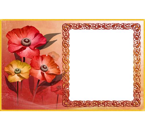Рамки с цветами для фотошопа: Рисованные маки