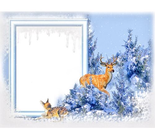 Детские рамки для фотошопа: Олени зимой