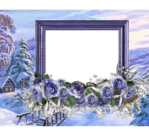 Рамки с цветами для фотошопа: Зимний пейзаж