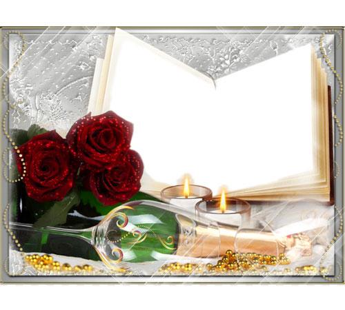 Рамки с цветами для фотошопа: Розы и свечи