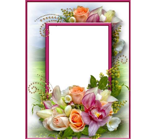 Рамки с цветами для фотошопа: Обворожительный букет
