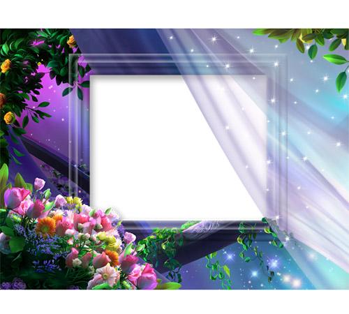 Рамки с цветами для фотошопа: Вечернее благоухание