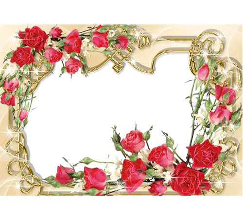 Рамки с цветами для фотошопа: Розы на золотом