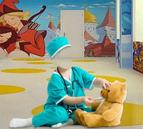 Детские шаблоны для фотошопа: Малыш - доктор